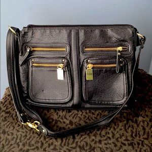 Vintage S&CO. Black faux leather crossbody purse.